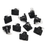 10pcs Black XLR 3pin Female Jack Panel Mount Chassis PCB Socket Connector
