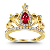 Zirconia Crown Ring 18K Gold Plated Engagement Princess Ring