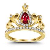 AnelloconcoronainzirconioAnello con fidanzamento in oro placcato in oro 18 carati