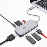 blitzwolf® BW-TH5 Hub dati USB-C 7 in 1 con lettore di schede TF USB 3.0 a 3 porte USB-C PD Charging 4K Display per notebook MacBook iPad