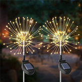2PCS Solar Powered 105LED Starburst Fireworks Fairy String Landscape Light Christmas Outdoor Decor