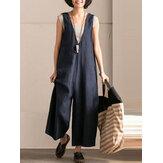 Femme L-5XL Combinaison Vintage en Coton Sans Manches