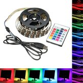 1M 2M 3M 4M USB 5V 5050 60SMD/M RGB LED Strip Light TV Back Lighting Kit +24Key Remote