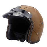 DOT 3/4 Face Vintage Leather Motorcycle Helmet Motorbike Scooter Crash Visor M L XL