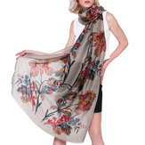 Women Summer Chinese Floral Painting Scarf Flower Shawl