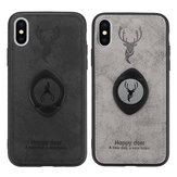 Bakeey Happy Deer Ring Holder Bracket TPU + Custodia protettiva in pelle PU per iPhone XS 5.8 Pollici