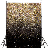 5x7FT Changement progressif Glitter Black Gold Dots Photographie Toile de fond Studio Prop Fond
