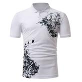 メンズClassicブラックホワイトプリント半袖ゴルフシャツ