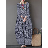 Women 3/4 Sleeve O-neck Loose Baggy Floral Maxi Dress