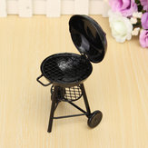 1/12 Scale Black BBQ Grill Kitchen Dollhouse Miniature Furniture Accessories For Dollhouse