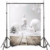 3x5ft Christmas Theme Christmas Snowman Wooden Photography Vinyl Background