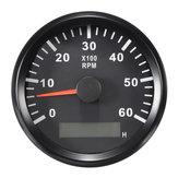 12 / 24V 0-6000 RPM 85mm LCD Marine Tachometer Compteur Compteur Compteur Noir