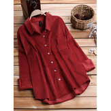 Women Long Sleeves Corduroy Shirts with Pockets