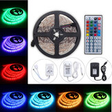 5M 24W RGB SMD5050 Waterproof 300 LED Strip Light + 44 Key Remote 12V 2A Power Adapter Full Kit
