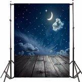 3x5FT Vinyl Moon Night Sky Stern Holzboden Fotografie Hintergrund Hintergrund Studio Prop