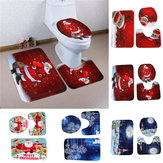 3PCS Christmas Home Decoration Pupazzo di neve Santa Toilet Seat Cover Tappetino da bagno Closestool Coperta Tappeto