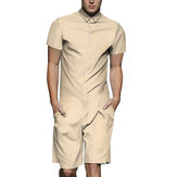 Men Solid Color Cargo Romper Shorts