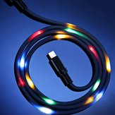 Volume Control Dance LED Light Flash 2A Fast Charging Micro USB Cable for iPhone / Android / Type C