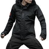 Mens Camo Printing Solid Color Hooded Outdoor Sport Jacket
