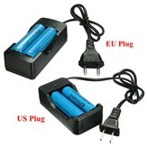 2x Elfeland 3.7V 3000mAh 18650 Li-ion Battery + EU/US Plug Charger