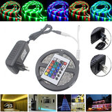 5M à prova d'água 3528 RGB 300 LEDs Flexível Strip Light 24 teclas IR remoto + adaptador de corrente DC12V
