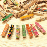 50 Pcs Cute Painted Wooden Mini Craft Pegs Cloth Photo Picture Hanging Spring Clips Clothespin