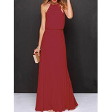 Women Casual Solid Color Sleeveless Dress