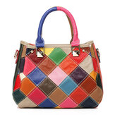 Borsa a mano Tote Handbag donna Patchwork Pelle bovina Coloreful