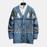 Мужская геометрия Шаблон Кнопки V Шея толстые зимние свитера