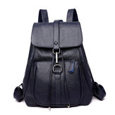 Soft PU Leather Backpack Ladies Casual Shoulder Bag Outdoor Hunting Travel Rucksack