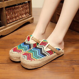 Regenboog Espadrilles Vlas Backless Loafers