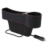 Car Seat Gap Storage Box Crevice Organizer Pocket Dual USB Cup Holder PU Leather