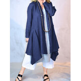Solid Color Open Front Loose Casual Irregular Hem Cardigans