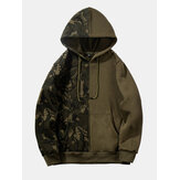 Fashion Patchwork Drawstring Hooded Dickes Freizeit-Sweatshirt