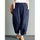 Vintage Solid Color Pockets Pants