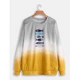 Fish Cartoon Print O-neck Long Sleeve Sweatshirt
