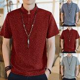 Homens Casual manga curta gola estilo chinês botão camisas Kung Fu Top Tee