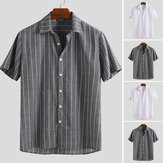 Mens Striped Casual Shirt Loose Collar Neck Short Sleeve Button Down Holiday Top