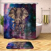 Elefante Banheiro Conjunto Mouldproof Cortina de Chuveiro Antiderrapante Tapete Tampa de Assento Do Vaso Sanitário Tapete de Banho Tapetes Banheiro Decoração