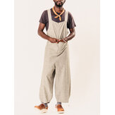 INCERUN Mens Big Pocket Drawstring Baggy Overalls Pants