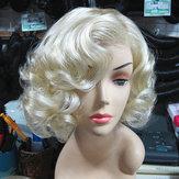 المرأة قصيرة ضوء شقراء متموجة مجعد الشعر تأثيري حزب الباروكة