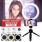 Vídeo ao vivo regulável LED Ring Light Photography 360 ° Rotating Fill Light ajustável com clipe de telefone Selfie Holder Tripod for Beauty Maquiagem