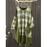 Plus Size Plaid Patchwork Irregular Pocket Casual Dress