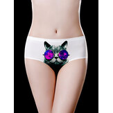White Ice Silk Gato Braguitas estampadas de cintura media Soft