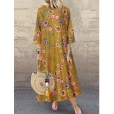 Women 3/4 Sleeve O-neck Floral Print  Maxi Dress