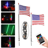 12V 3FT / 4FT bluetooth LED Flagpole Light 6000 colores 200 modos APP Control para UTV ATV Moto Accesorios
