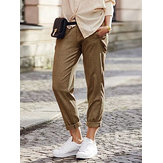 Women Casual Pure Color Elastic Waist Side Pockets Trousers
