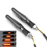 12V 2pcs Motorcycle LED Turn Signal Flowing Lights Indicator Lamps Carbon Fiber Shell
