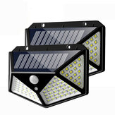 2pcs 100 LED Solar Powered PIR Motion Sensor Wall Light Outdoor Garden Lamp 3 Modes