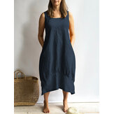 Women Loose Casual Long Maxi Sleeveless Summer Dress